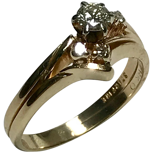14 K Yellow Gold Star Fire 0.30 Ct Diamond Wedding Set