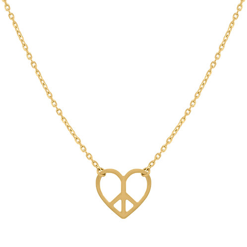"14k Handcrafted Polished Yellow Gold Peace Heart Necklace Measures 18"" NICE!"