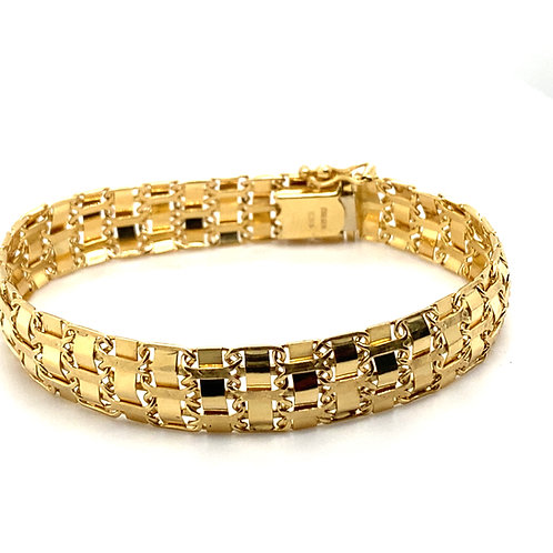 Fancy Link Super Thick 14mm Handcrafted 14k Solid Yellow Gold Bracelet