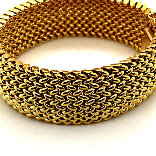 Women's Large Statement Piece Mesh Bracelet Handcrafted 14k Yellow Gold 22mm