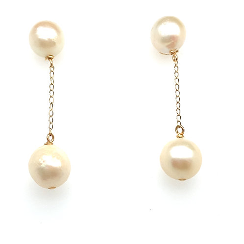 Stunning 14K Gold Pearl Dangly Earrings
