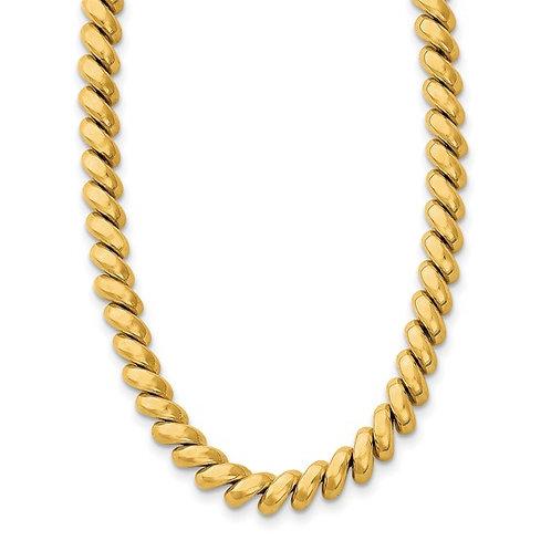 """14k San Marco Gold Necklace Measures 16"""" 6mm GORGEOUS PIECE!"""
