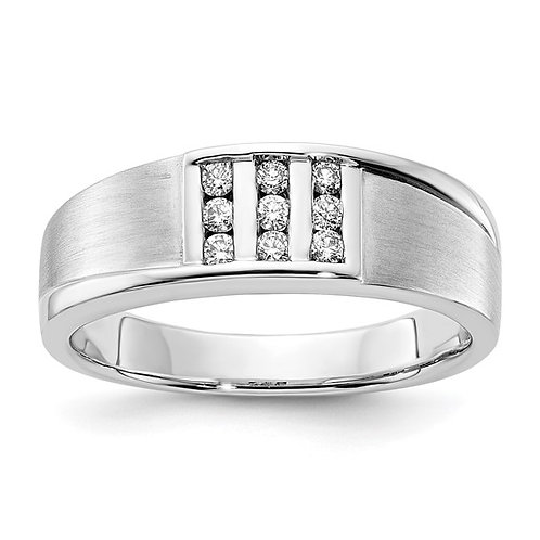 Men's Handcrafted 10k White Gold & Diamond Wedding Band GORGEOUS!