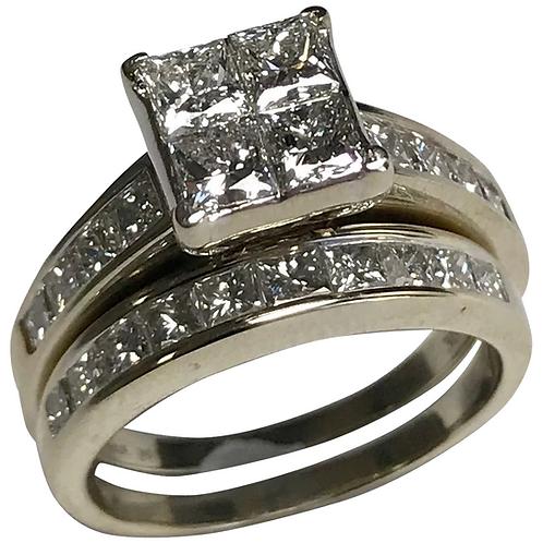 14 K White Gold 2.53 CTW Diamond Engagement Ring & Diamond Band Wedding Set