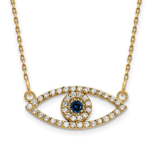Beautiful Super Cool! Evil Eye 14k Yellow Gold Diamond & Sapphire Necklace 18""
