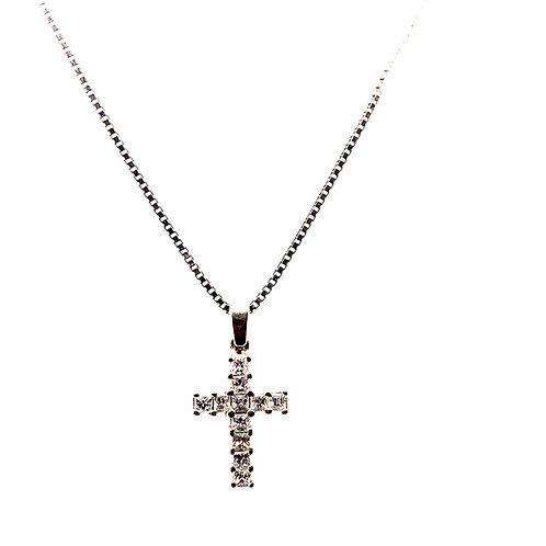 Lots of Sparkle! 0.50ct Diamond Cross Pendant & Handcrafted Diamond Cut 14k