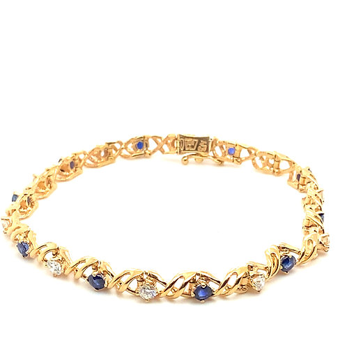 Absolutely Stunning 14K Gold IGI Certified 1.50 Diamonds and Sapphire Bracelet