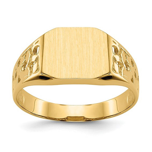 14k Men's Engravable Signet Ring All Sizes Available