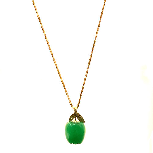 Beautiful Super Fun! Solid Jade Apple Pendant & Necklace Handcrafted 14K Gold