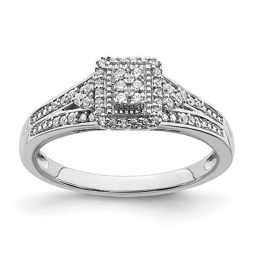 Handcrafted 10k White Gold & Diamond Cluster Engagement Ring