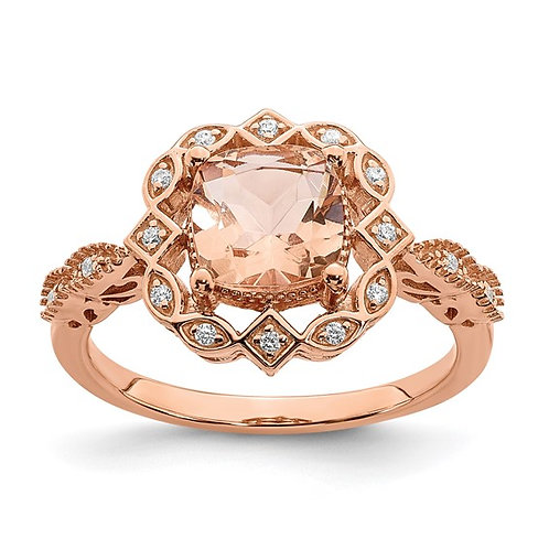 14K Handcrafted Rose Gold Morganite Diamond Halo Engagement Ring