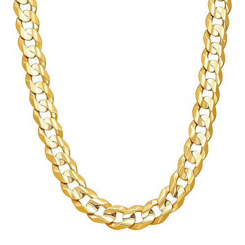 """Solid Curb Handcrafted 10k Gold Link Chain Measures 27"""" Super Thick & Heavy 14mm"""