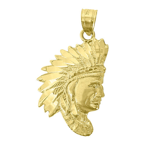Diamond Cut 14K Yellow Gold Red Native American Indian Chief Pendant