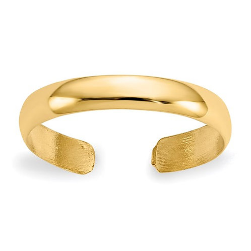 Handcrafted 14K Yellow Polished Gold Simple Toe Ring