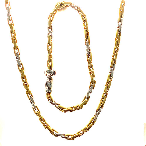 Beautiful Necklace & Bracelet Jewelry Set Two Tone Tri Color Handcrafted 18k