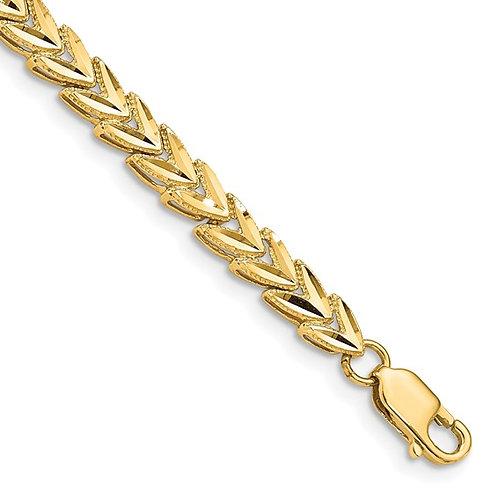 "14k Diamond Cut Fancy Link Yellow Gold Bracelet 7"" 6.6g 5mm Gorgeous Piece!"