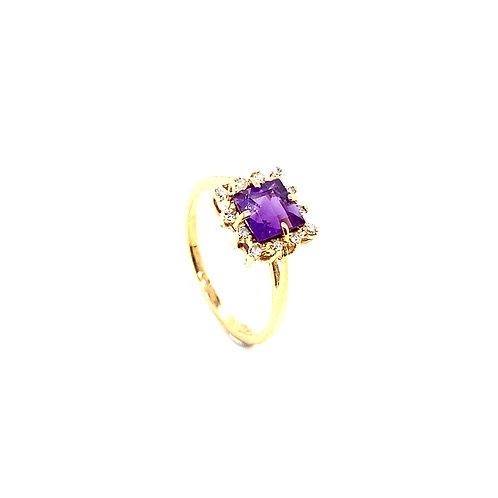 Statement 14K Gold 1 Carat Amethyst Ring