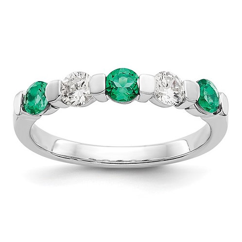 Beautiful Anniversary Wedding Band 14k White Gold Diamond & Emerald Ring