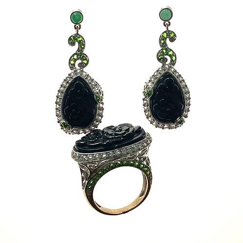 Beautiful Black Onyx Earring & Ring Set Super Unique Design Upscale Quality Set