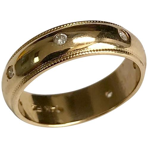 14 K Yellow Gold 5 mm 7 Diamond Eternity Wedding Band