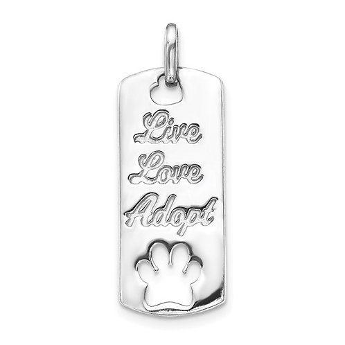 14k White Gold Live Love Adapt Paw Dog Cat Tag Charm Pendant GORGEOUS!