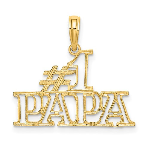 14k Handcrafted #1 Papa Cut Out Charm Pendant Sweet Piece!