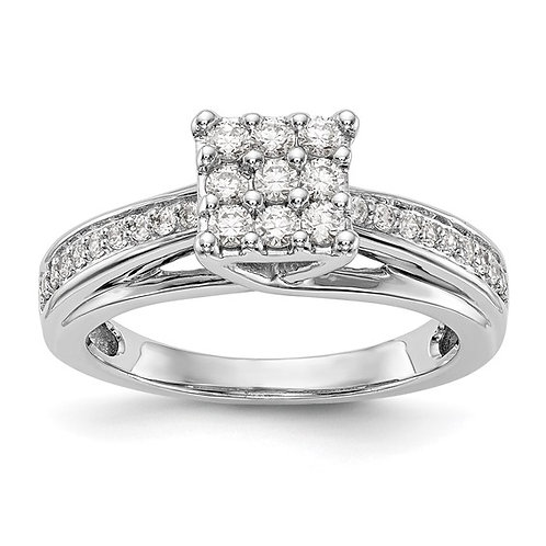 Handcrafted 14k White Gold & Diamond Engagement Ring 0.50ct Upscale Quality