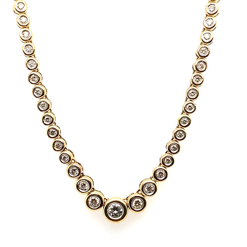 Stunning Statement Piece Handcrafted 14k Yellow Gold & 2ct Diamond Necklace