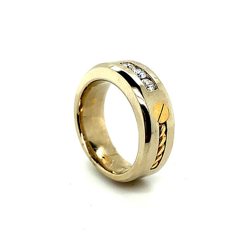 Men's 14K Gold and Diamond Fashion Ring