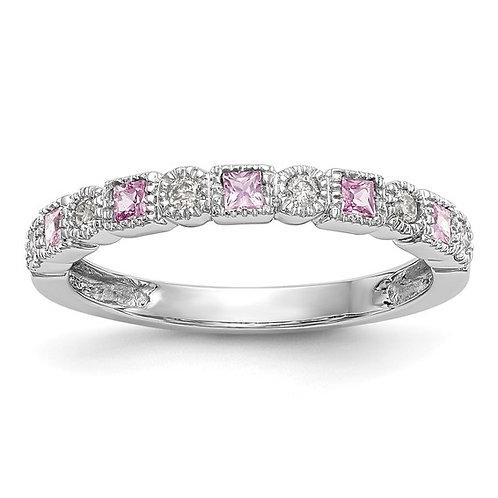 Gorgeous 14k White Gold Diamond & Pink Sapphire Band