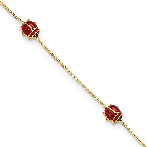 14k Gold & Red Enameled Ladybug Bracelet Italy CUTE!