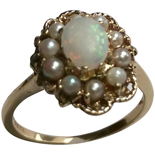 Art Deco 10 Karat Yellow Gold Opal & Seed Pearl Ring