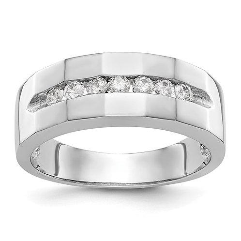 Men's 14k White Gold & Diamond Wedding Band