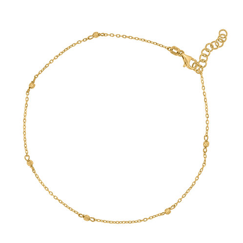 """14k Yellow Gold Textured Beaded Anklet Measures 9.5"""" Plus 1"""" NICE!"""