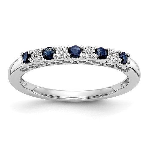 Gorgeous Diamond & Sapphire Wedding Band