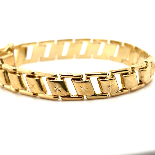 Thick 10MM Fancy Chain Link Handcrafted 14k Fine Gold Bracelet