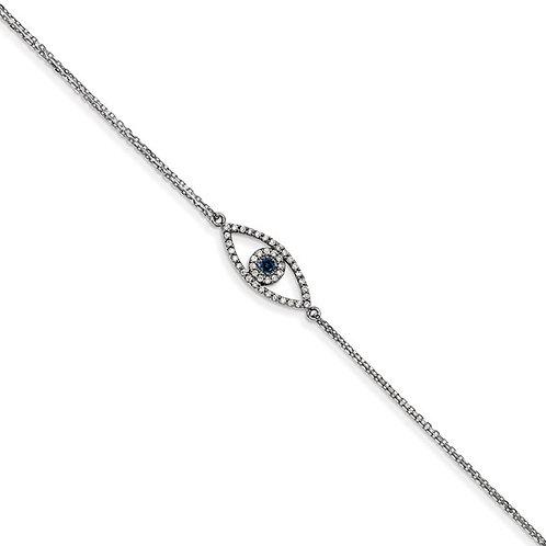 """Super Cool 14k White Gold Sapphire & Diamond Evil Eye Bracelet 7"""" NICE"""