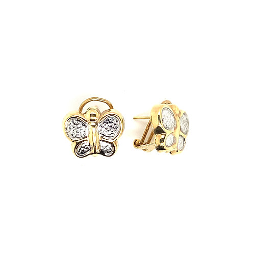 Beautiful Butterfly 14K Gold Stud Earrings