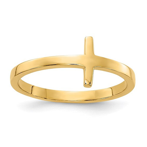 Beautiful Handcrafted 14K Yellow Gold Sideways Cross Ring
