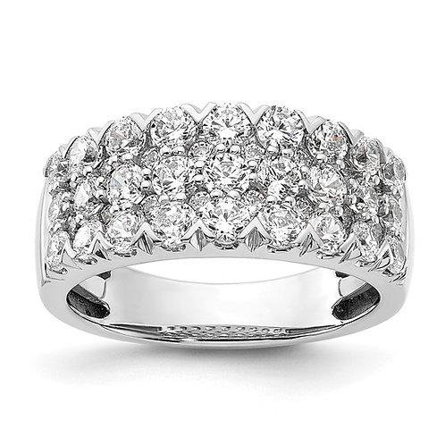 14K White Gold & Pave Diamond 2ct Wedding Band GORGEOUS!