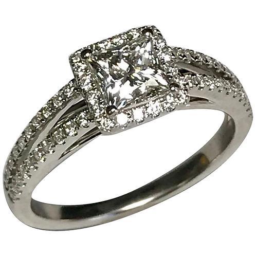 14 K White Gold 1.01 ctw Princess & Round Diamond Engagement Ring