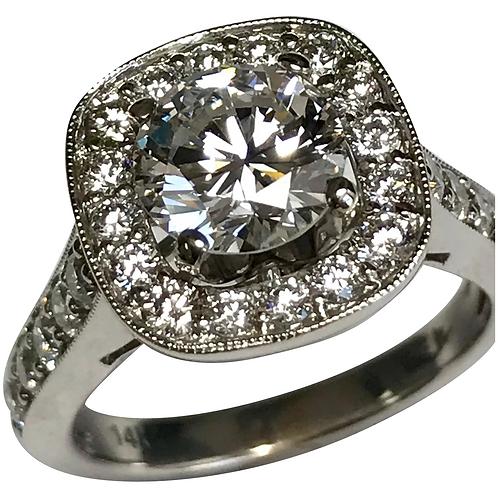 14 K White Gold 1.51 Round Diamond GIA Engagement Ring