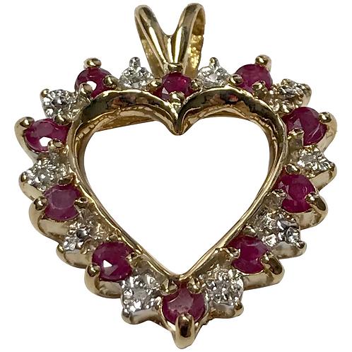 10 K Gold Ruby, Diamond Open Heart Pendant