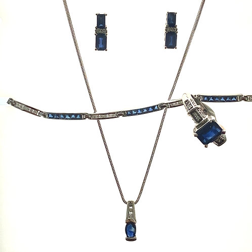 Beautiful Sapphire & Diamond Fine Jewelry Set Earring Necklace Bracelet and Ring