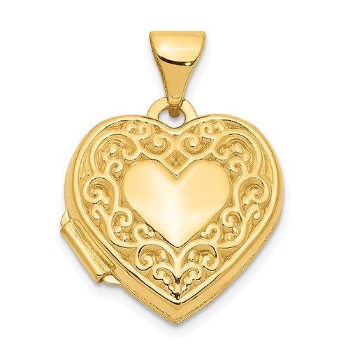 Beautiful 14K Scroll Heart Locket Pendant Very Sweet!
