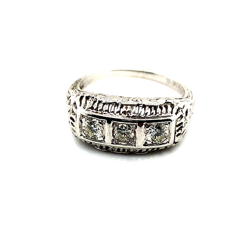 Beautiful Handcrafted 14k White Gold & .60ct Diamond Ring Unique Design