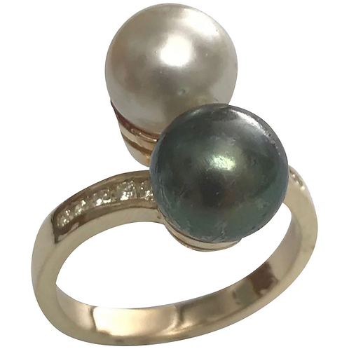 14 K Yellow Gold Double Pearl & Diamond Ring