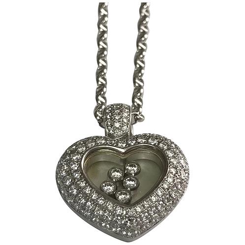 18k White Gold 2.00 Carat Floating Diamond Heart Necklace
