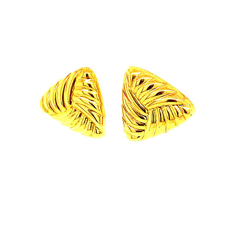 """Beautiful Handcrafted 14k Yellow Gold Triangle Shape Earrings .5"""""""