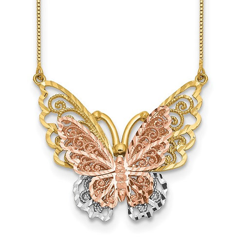 """Solid 14k Tri Color Rose Yellow White Gold Butterfly Pendant & Necklace 18"""""""